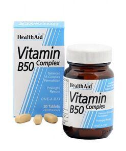 Complejo B50 30 compr. Liberación prolongada con vitamina C + Hierro de HealthAid