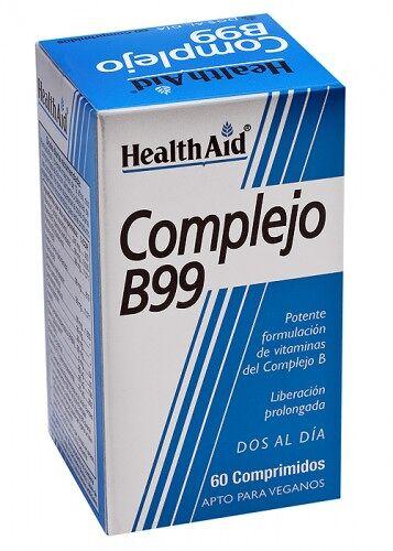 Complejo B99 60 comprimidos, Liberación prolongada con vitamina C + Hierro de HealthAid