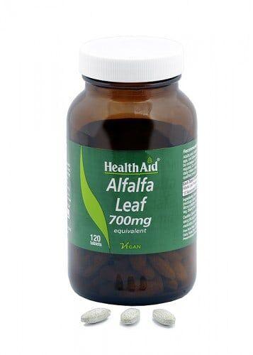 Alfalfa -hoja- (Medicago sativa) . 700 mg de polvo crudo de HealthAid