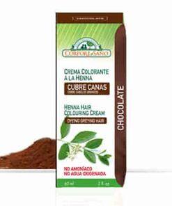 Crema colorante a la henna cubre canas chocolate corpore sano