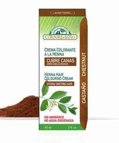 Crema colorante a la henna cubre canas castaños corpore sano